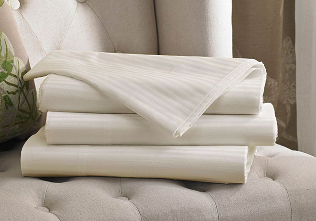 Ivory Stripe Flat Sheet