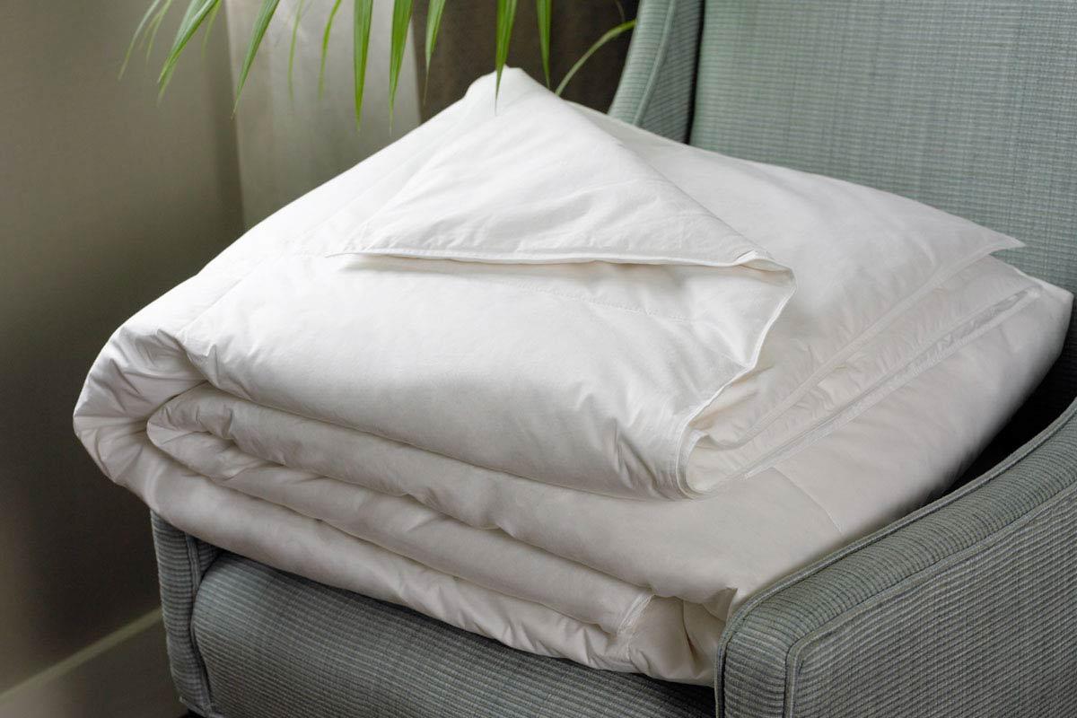 Hotel blanket on bed