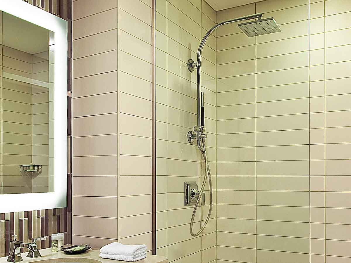 rain shower head with wand.  Westin Heavenly Shower System Hotel Store